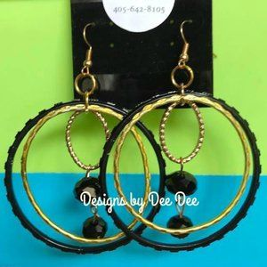 Black & Gold Hoops & Hooks Earrings